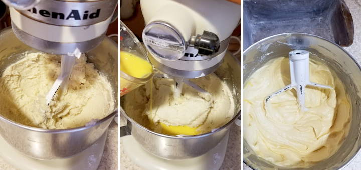 three photos showing the steps for mixing lemon yogurt pound cake.