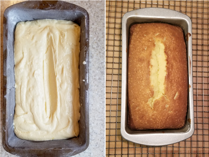 two side by side photos showing pound cake before and after baking.
