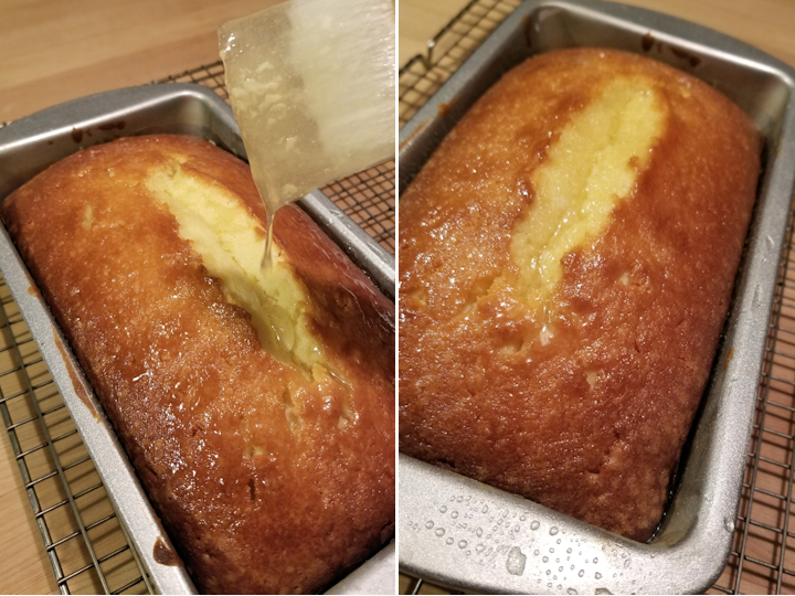 two photos showing how to glaze pound cake with lemon syrup