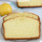 a pinterest image for lemon yogurt pound cake with text overlay