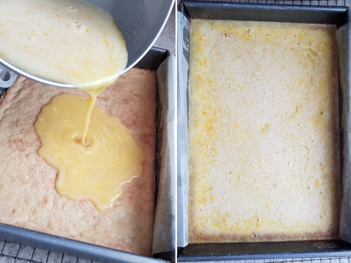 two photos showing meyer lemon bars before and after baking