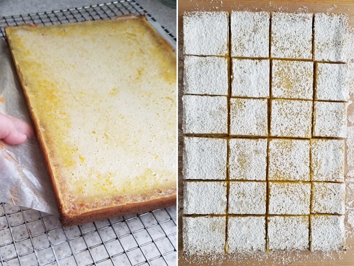 two photos showing how to finish and cut meyer lemon bars