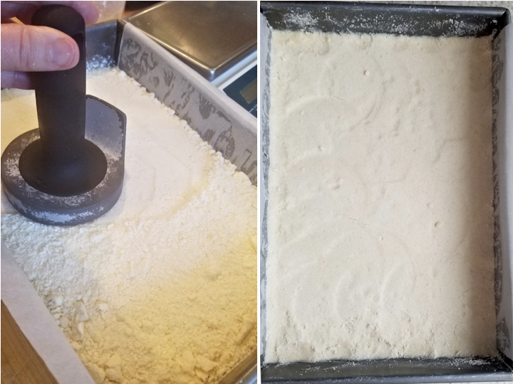 two photos showing how to make the shortbread crust for lemon bars