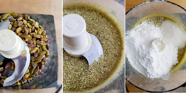 three photos showing how to prepare pistachios to make french macarons without almonds