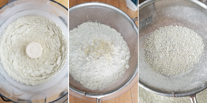 three photos showing how to grind and sift pistachios for macarons.
