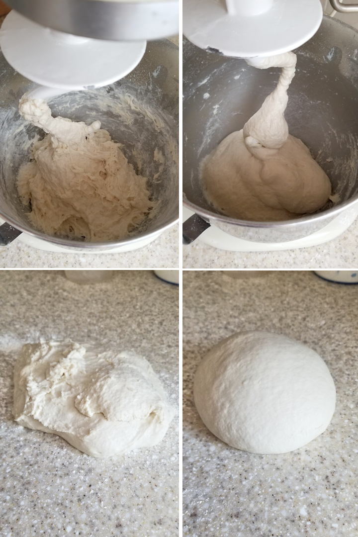 four photos showing how to mix pita bread dough