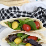 a pinterest image for homemade pita bread with text overlay