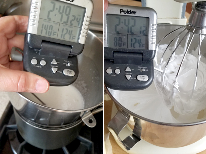 two photos showing how to monitor the temperature of meringue for swiss buttercream