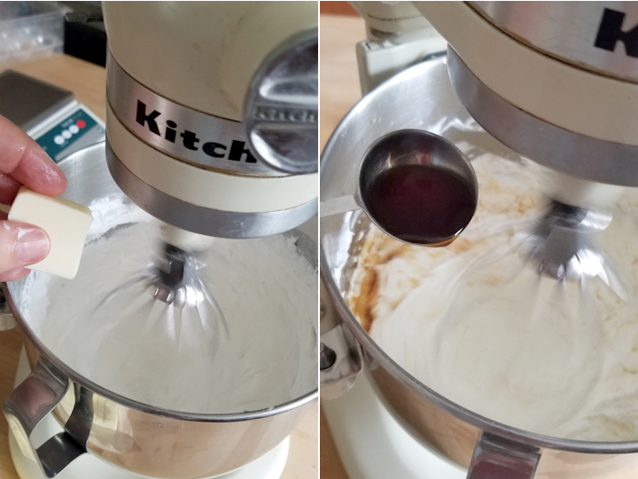 two photos showing how to add butter and vanilla to meringue buttercream