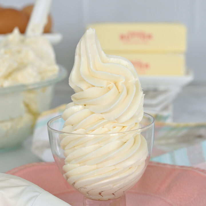 a bowl of swiss meringue buttercream