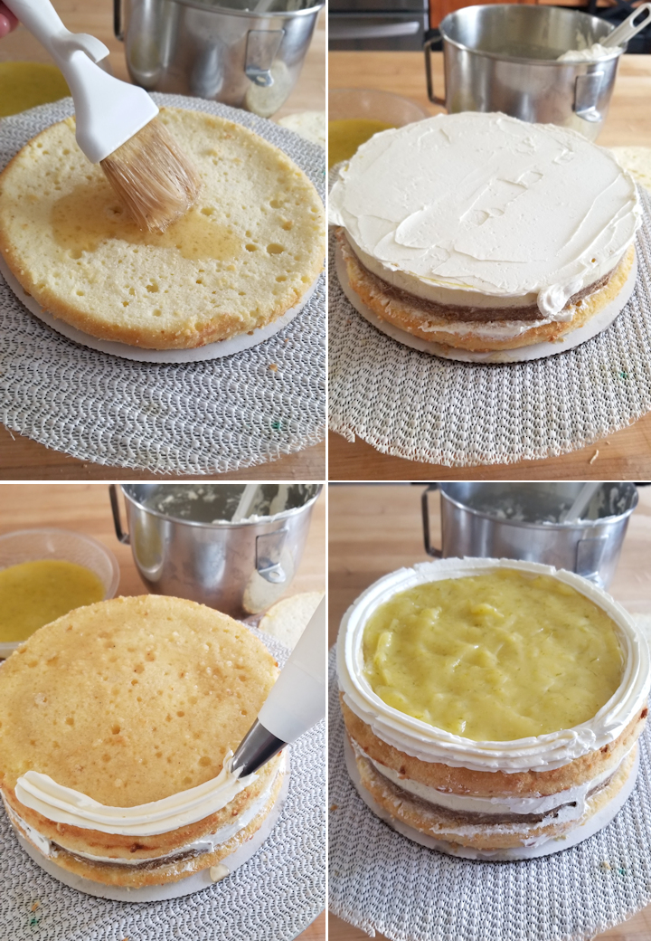 four photos showing how to build a key lime layer cake
