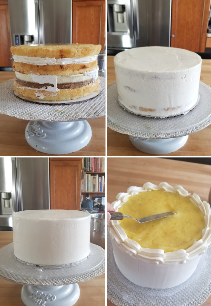 four photos showing how to ice and finish a key lime layer cake.