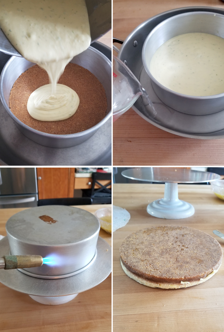 four photos showing steps to make, bake and release a cheesecake layer with graham cracker crust.