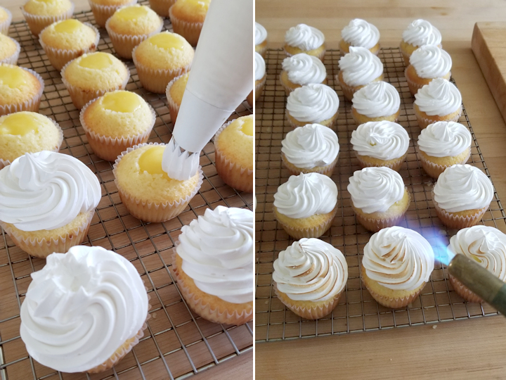 two photos showing how to top and torch meringue on cupcakes