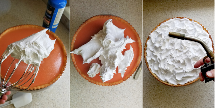 three photos showing how to top a rhubarb tart with meringue