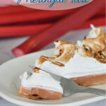 a pinterest image for rhubarb meringue tart with text overlay