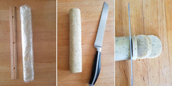 three photos showing how to slice and bake rosemary parmesan shortbread