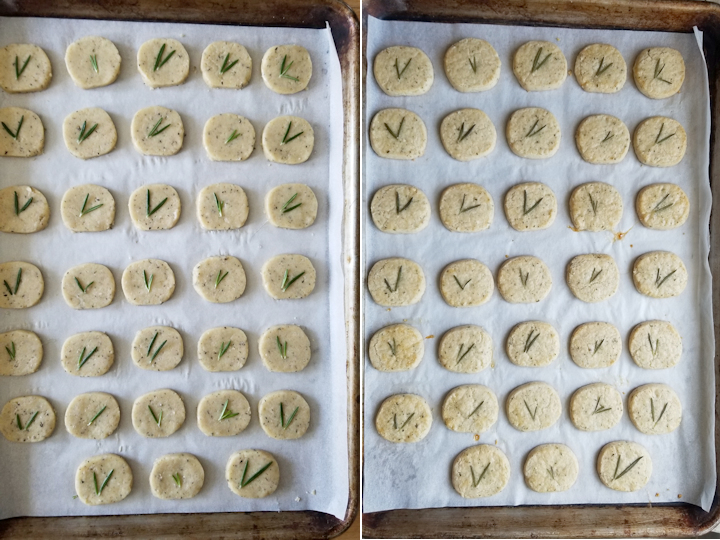 showing rosemary shortbread before and after baking