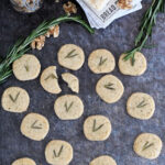 a pinterest image for savory shortbread with text overlay
