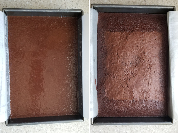two photos showing sourdough chocolate cake before and after baking.