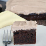 a pinterest image for sourdough chocolate cake with text overlay