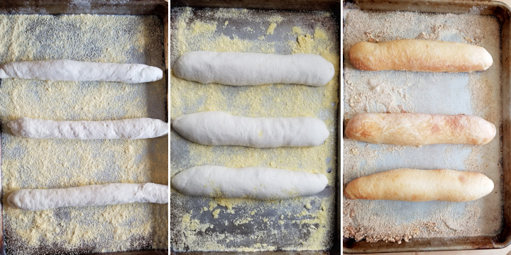 three photos showing sourdough hoagies before rising, after rising and after baking.