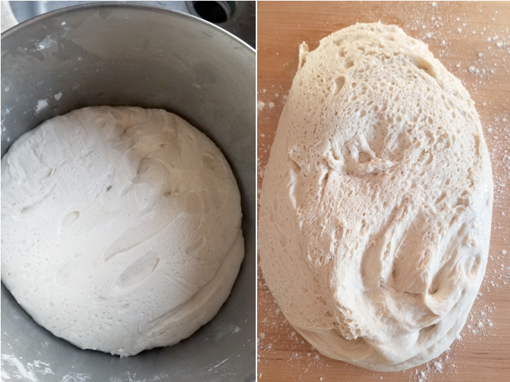 two photos showing sourdough hoagie dough after a night in the refrigerator