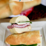 a pinterest image for sourdough hoagie rolls with text overlay
