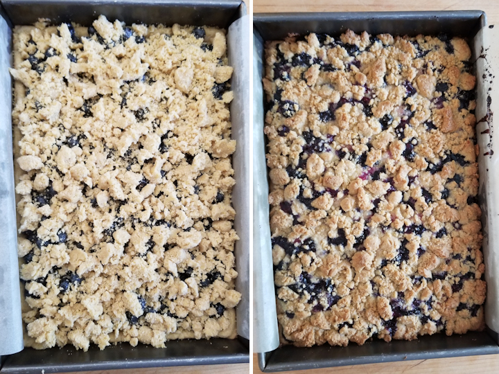 blueberry crumb bars before and after baking