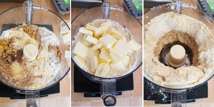 a food processor filled with ingredients for cornmeal crumb crust