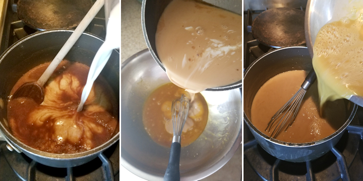 three photos showing how to make butterscotch sauce and how to make ice cream from the sauce