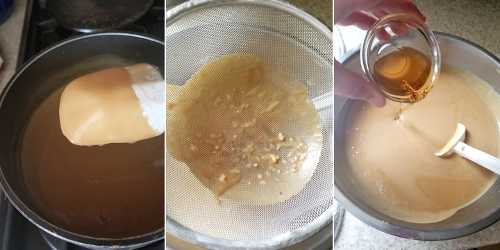 showing how to cook and strain butterscotch custard for ice cream