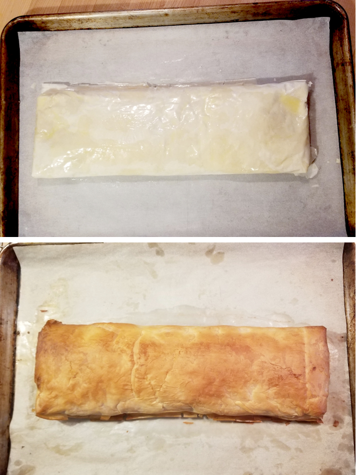a strudel on a pan before and after baking