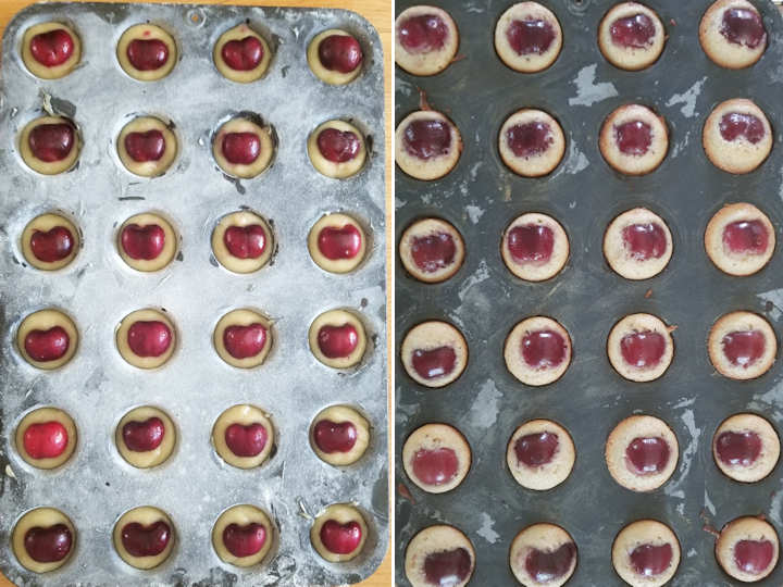 showing cherry financiers before and after baking