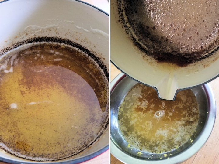a pot with browned butter