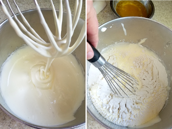 a bowl with ribboned eggs and a bowl with flour added