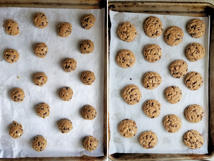 peanut butter cookies on a sheet pan before and after baking