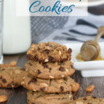 a pinterest image for thick and chewy peanut butter cookies