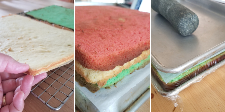 showing a thin cake layer. Three thin layers with jam. showing a cake weighted down in pan.