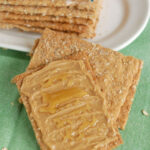 a pinterest image for Sourdough Oatmeal Crispbread with text overlay