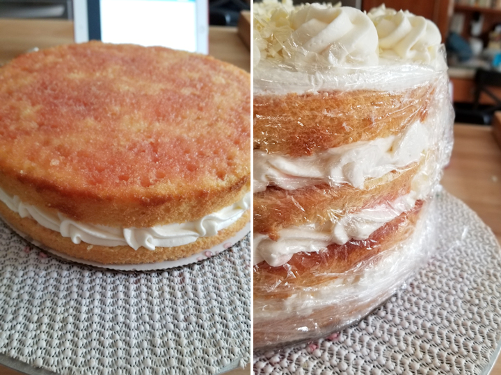 a closeup of cake layers with cream and a closeup of a cake wrapped in plastic