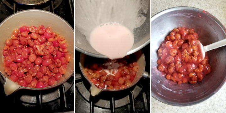 sour cherries in a small pot, a bowl pouring cornstarch into cherries and a bowl of sour cherry filling