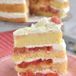 a pinterest image for white forest cake with text overlay