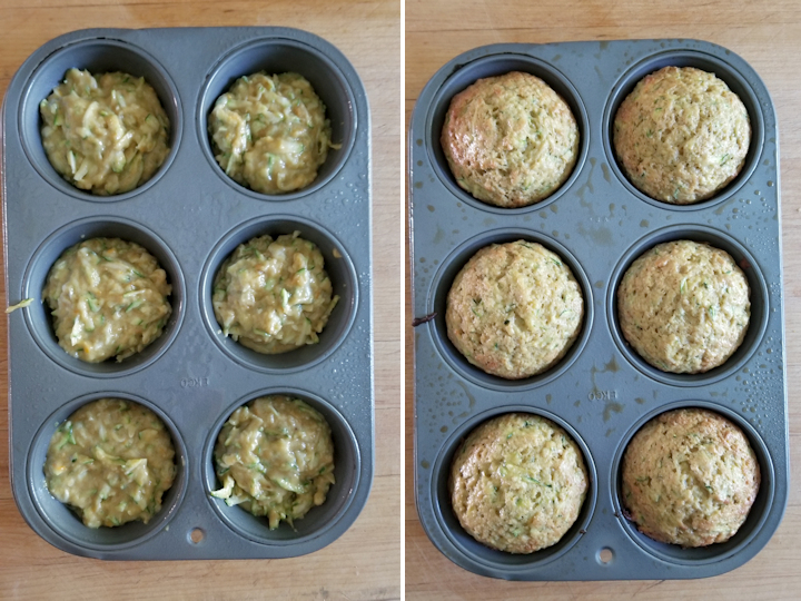 zucchini muffins before and after baking