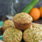 a pinterest image for zucchini muffins with text overlay