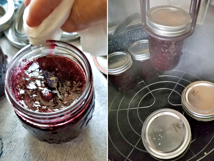showing how to clean a canning jar rim and how to put the jars into a water bath.