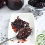 A pinterest image for blackberry Lavender Preserves with text overlay
