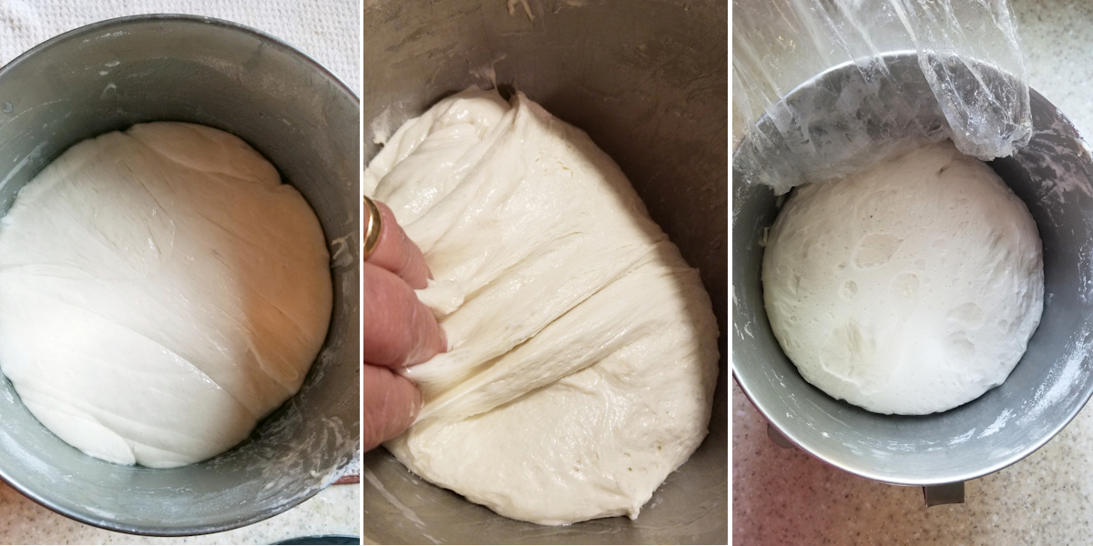 three photos showing a bowl of sourdough during the fermentation and folding process