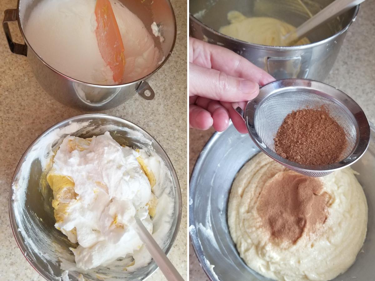 two photos showing how to make spekkoek batter.