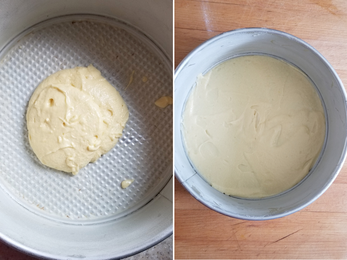 a pan with cake batter and a pan with a layer of cake batter